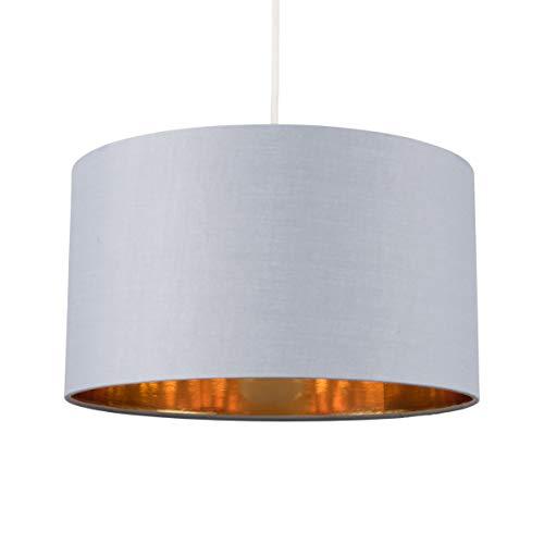 MiniSun Large Modern Grey & Gold Cylinder Ceiling Pendant/Table Lamp Drum Light Shade