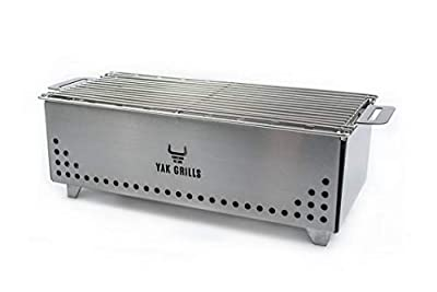 "Portable Tabletop Charcoal Grill, YAK Grills Hibachi, 100% Stainless Steel, Grill at 750ºF, Outdoor Tabletop Safe. Great for Travel, Camping, Patio, Balcony. 15""x7"" Grilling Area. Includes Grate Handle & Carrying Case."