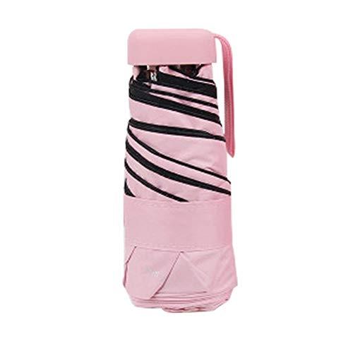N\A Women and Men Traveling Umbrella Mini Umbrella For Women Rain Parasol Anti-UV Pocket Umbrella Lightweight Folding Sun Umbrella Waterproof Travel Umbrella, Portable Umbrellas (Color : Pink)