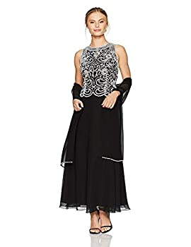 J Kara Women s Petite Beaded Sleeveless Long Dress with Scarf Black/White 10P