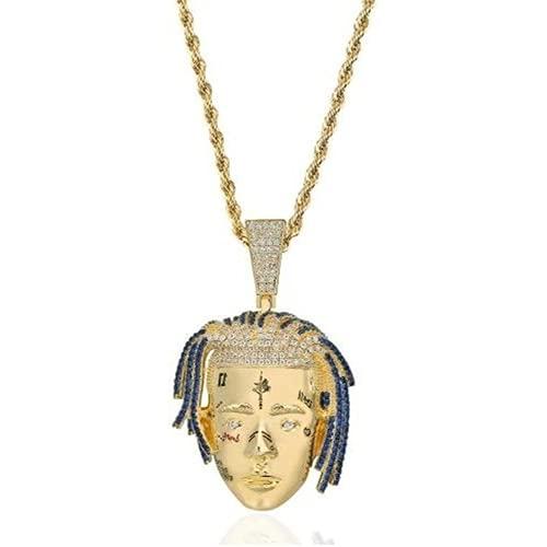 Aiiwqk Personalidad LANGNEX XXXTACION Pendiente Collar Collar HIPO CZ Hips Hips/Punk Gold Charm Regalo