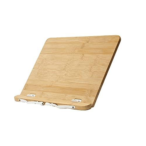 AAZZ Bamboo Book Stand Regolabile Reading Portable Reading Book Titolare per Ricette Libri di Testo Tablet Music Books with Page Clips-Brown (Color : Brown, Dimensione : Medio)