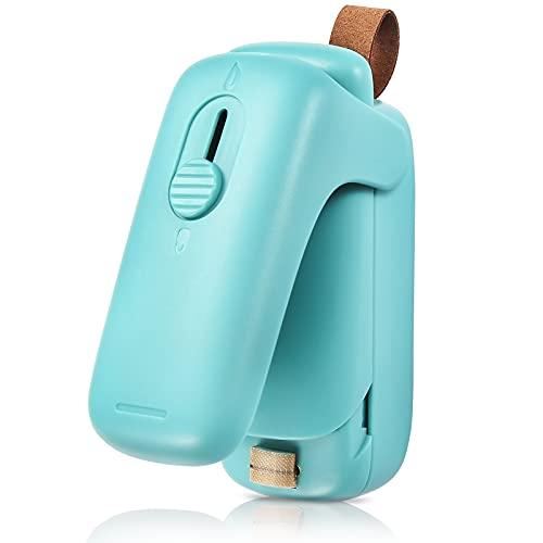 DuJaSho Mini Bag Sealer, 2 in 1 Portable Sealer & Cutter, Heat Sealer for Vacuum Sealer Bags, Handheld Bag Heat Resealer Machine for Chip Bags, Plastic Food Bags, Snack & Cereal Bags (Green, Single)