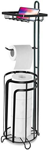 Portarrollos de Papel Higiénico de pie con Estante, Soporte para Rollos con Base para el Baño de Metal para 3 Rollos Grandes