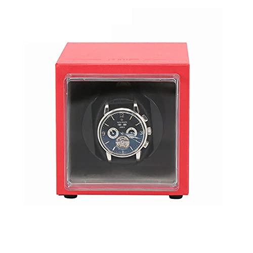 FFAN Caja de Reloj Enrolladores de Reloj Caja de Almacenamiento automática de la Caja de Enrollado de Reloj para 1 Relojes de Pulsera Aptos para Todos los Relojes automáticos (Color: Rojo, Tamaño: