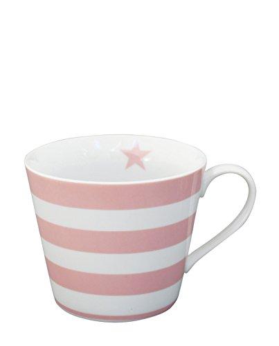 Krasilnikoff - Happy Cup - Henkelbecher - Kaffeetasse - Tasse - Streifen in pink Höhe 9 cm Ø 10 cm