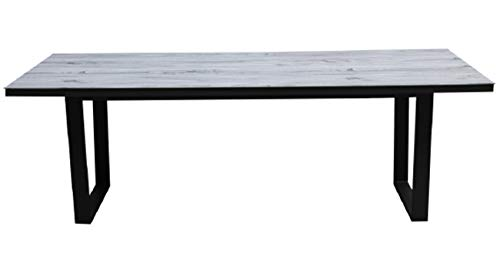PEGANE Table de Jardin en Aluminium Gris et céramique - 230 x 100 x 75 cm