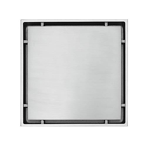 JenLn Square Ocultos Cepillado Anti-Insectos Desodorante WC de Drenaje del Piso del DREN Colador de Cazadores de Pelo (Color : Metallic, Size : 150x150x35mm)