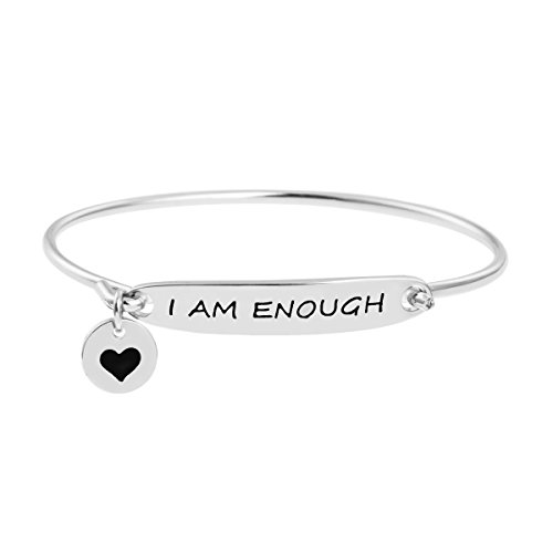 Inspirational Feminist Link Charm Bangle Bracelet Jewlelry Gift for Women Friend Queto I Am Enough