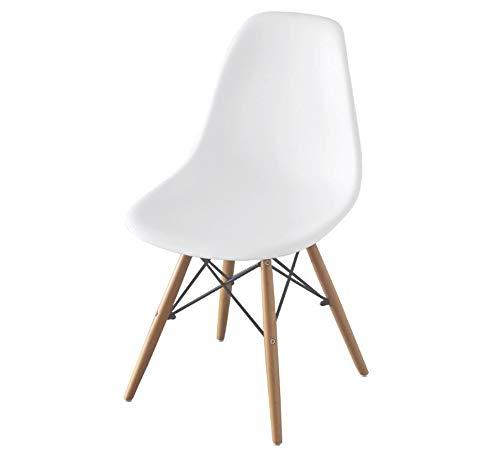 アイリスプラザ 椅子 ダイニングチェア イームズチェア リプロダクト 天然木脚 ホワイト PP-623
