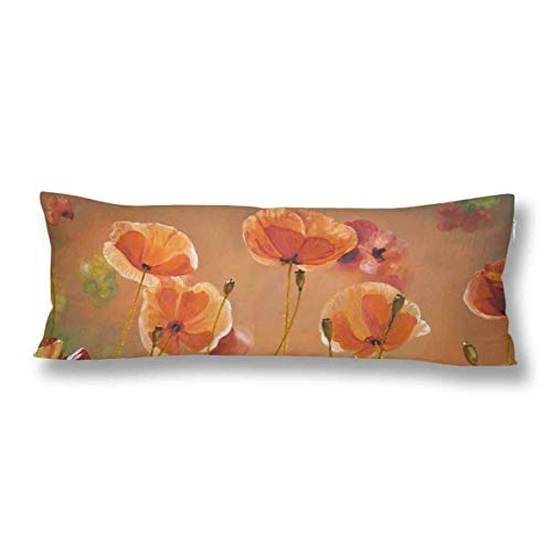 CiCiDi Body Pillow Case 5ft(50cm X 150cm) Oil Painting Red Poppy Flowers Spring Floral Nature Soft Cotton Machine Washable with Zippers Maternity/Pregnancy Pillow Cover