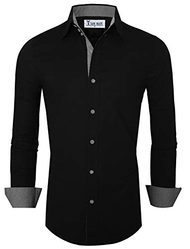 Tom's Ware Mens Premium Casual Inner Contrast Dress Shirt TWNMS314S-BLACK-US L