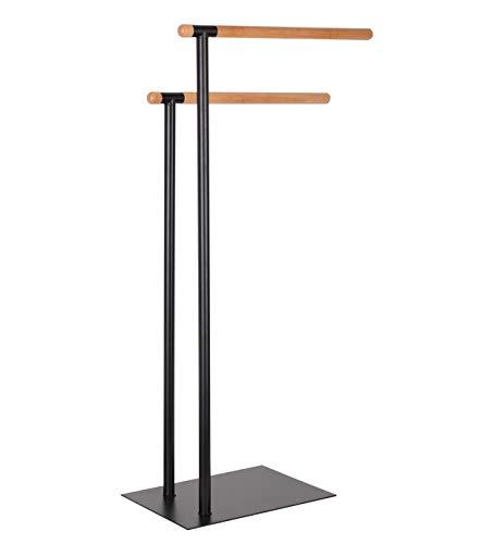 KOOK TIME – Toallero de pie con 2 Barras - Metal Lacado Negro Mate y bambú - 38,5 x 20 x 77 cm - para baños, duchas o dormitorios.