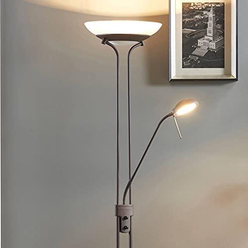 Lindby LED Stehlampe/Deckenfluter dimmbar, verstellbarer Lesearm | Standleuchte rostbraun | inkl. 1x 20W und 1x 5W LED Leuchtmittel (fest verbaut) | warmweiß (3.000K)