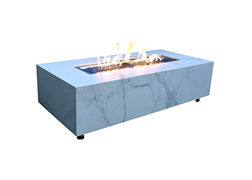 Elementi Liquid Propane Fire Pit Table with Caribbean Blue Firepit Glass - Electronic Ignition 60' Fireplace for Outdoor Use in Backyard, Outside Patio Heater Weather-Resistant - Carrara