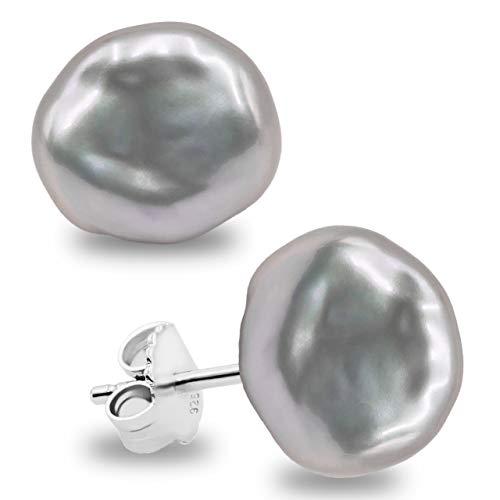 Pendientes de Mujer de Perlas Cultivadas Keshi de Agua Dulce Blancas y Grises SECRET & YOU - Plata de Ley de 925 milésimas - Disponibles en 10 tallas desde 7-8 mm hasta 15-16 mm