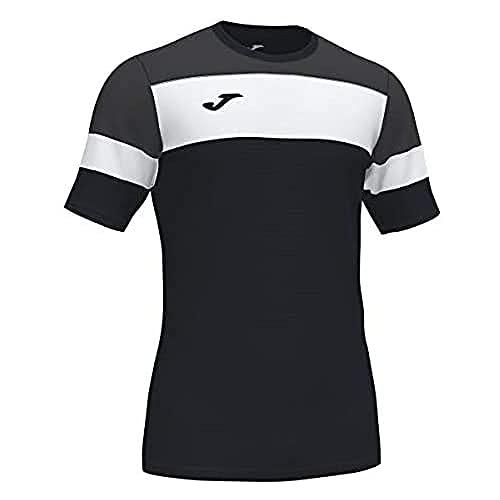 Joma Crew IV Camisetas Equip. M/C, Hombres, Negro Antracita Blanco, L