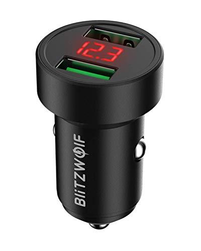 BlitzWolf Cargador de Coche, 24W QC3.0 QC2.0 Cargador Coche Carga Rápida Doble USB 12V/24V con Pantalla de Voltaje para iPhone 11 Pro XS MAX 8 7, Galaxy S9, Huawei y etc.(Negro)