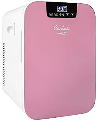 Cooluli Concord Pink 20 Liter Compact Cooler Warmer Mini Fridge for Bedroom, Office, Car, Dorm - Portable Makeup Skincare Fridge with Digital Temperature Control