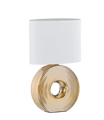 Fischer & Honsel Tischleuchte 1x E14 max.40W // Ker.gdf. Sch.weiß ov.H.38cm, gold/weiß, 56197