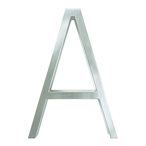 Zmaoyun-Números para casas Muestra de número de la casa de plata de 12 cm # 0-9 letras del alfabeto de 5 pulgadas., Números de puerta de señalización de Slash Slash Número de dirección al aire libre,