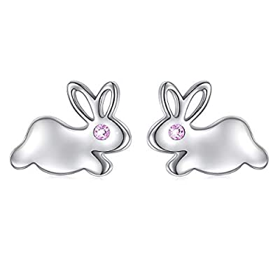 925 Sterling Silver Red Cz Small Bunny Rabbit Stud Earrings for Women Girls Gift Easter Jewelry
