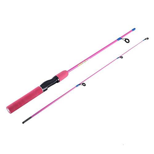 Cloverclover Caña de Pescar de Color para Pesca al Aire Libre para niños Caña de Pescar de Hielo de Mango Recto de 1,2 m, Rosa