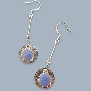 Handmade Lightweight Periwinkle Resin Long Drop Womens Earrings Beads by Bettina