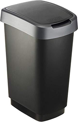 Rotho Twist Mülleimer 25l mit Deckel, Kunststoff (PP) BPA-frei, schwarz/silber, 25l (33,3 x 25,2 x 47,6 cm)