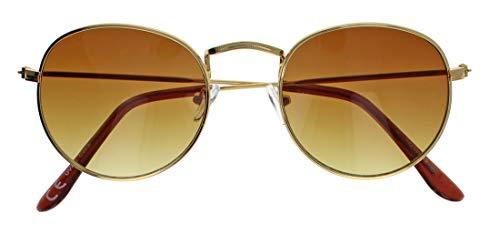 Retro Sonnenbrille Pilotenbrille gerundet für Damen und Herren Vintage Lennon Style RM45 (Gold/Braun getönt)