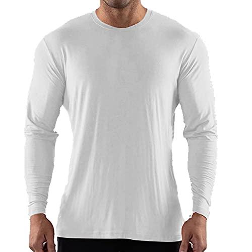 N\P Camiseta de manga larga con cuello redondo para hombre, blanco, XXL