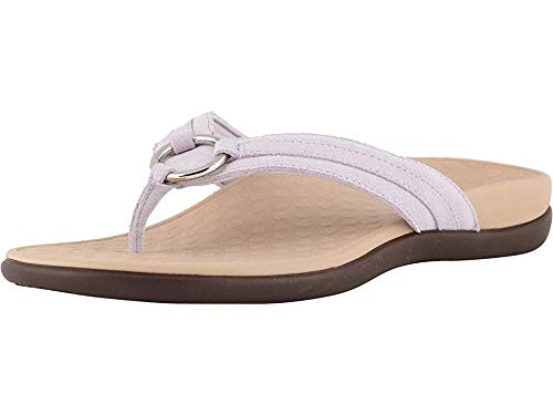 Vionic Women's Tide Aloe Toe-Post Sandal - Ladies Flip- flop with Concealed Orthotic Arch Support Lavender Suede 11 Medium US