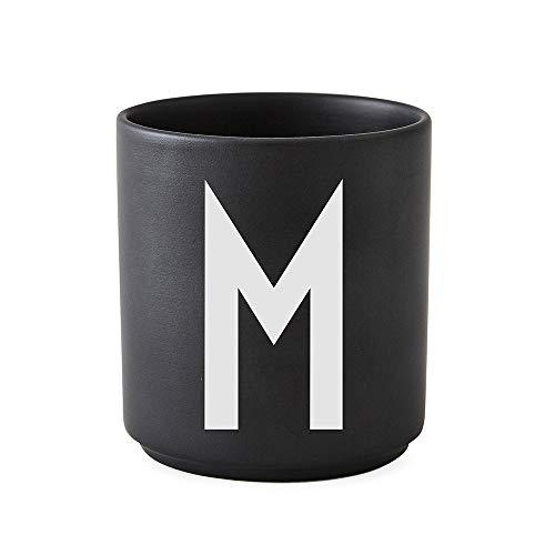 Design Letters Persönliche Porzellantassen Schwarz (M)| Dekorative mit vielen Funktionen | Kaffeebecher/Kaffeetassen | Tasse in Porzellan mit Buchstabe | Personalisierte Geschenke | Erhältlich von A-Z