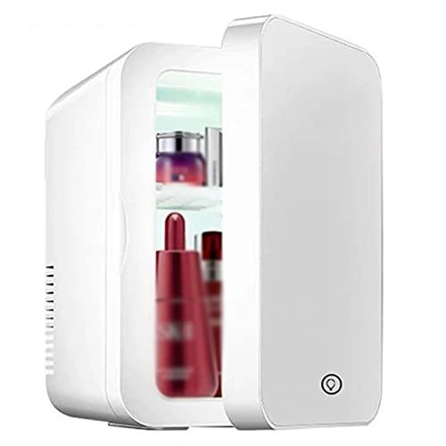 Hootiny Mini Refrigerador De Maquillaje De 8L, Refrigerador De Cuidado De La Piel Portátil con Panel De Vidrio Compacto Luz LED, Cool & Congelador