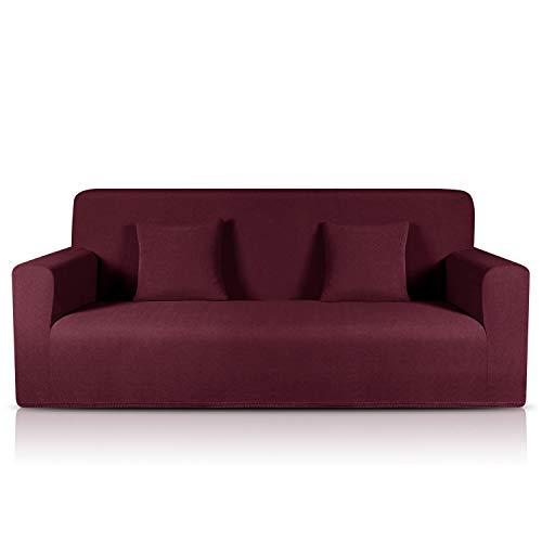 TAOCOCO Sofa Überwürfe Jacquard Sofabezug Elastische Stretch Spandex Couchbezug Sofahusse Sofa Abdeckung in Verschiedene Größe und Farbe (Diamantgitter Rot, 3-sitzer(180-230cm))