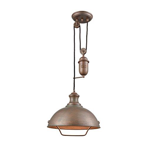 Farmhouse 1 Light Pulldown Pendant In Tarnished Brass