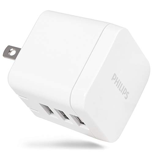 PHILIPS 17W USB Wall Charger, 3 Ports, for iPhone Xs/XR/X/8, iPad Pro/Air/Mini, Samsung Galaxy S10/S9/Plus, Google Pixel C/3/2/XL and More, DLP2408/37