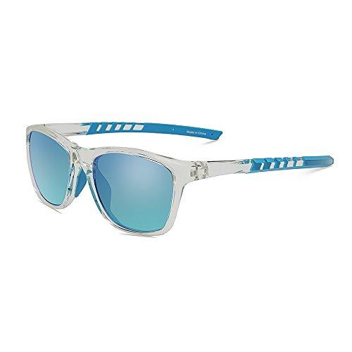 JOJEN Polarized Sports Sunglasses for Men Women Baseball Running Cycling Fishing Golf Tr90 Ultralight Frame JE001(Transparent Frame Blue Revo Lens)