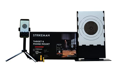 Strikeman Laser Cartridge Training Ammo Bullet | Safely Dry Fire and Practice | Multiple Calibers with Downloadable App | Choose Caliber (9mm KIT w/Target Holder & Phone Mount)