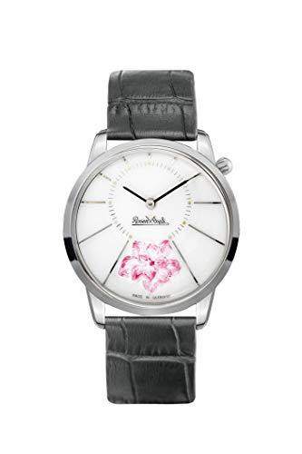 Rosenthal - Reloj de Porcelana para Mujer, Correa de Piel Negra