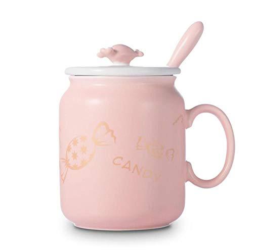 Qnmbdgm Mok voor snoepjes, keramiek, met een melkkop, lepel, bureaudeksel, eenvoudig