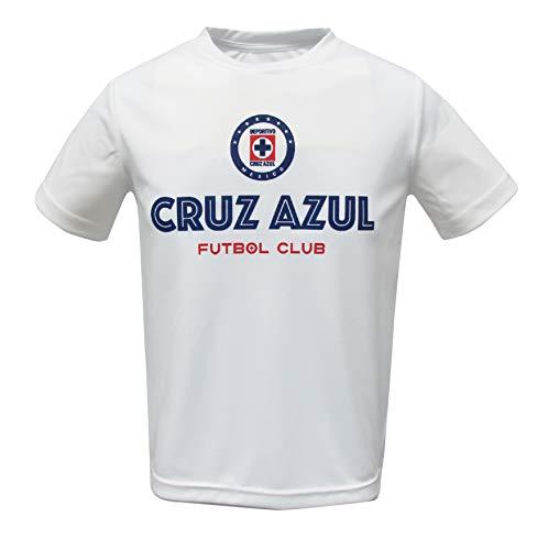 Junior Boys Cruz Azul Official Crew Neck, Short Sleeve Tee (White, Large)