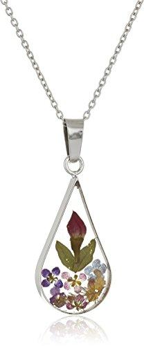 Sterling Silver Multi Pressed Flower Teardrop Pendant Necklace, 16'