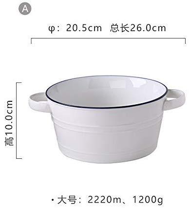 SLL Keramik-Riesen Ceral Bowl Weiß Salatschüssel für Mikrowellenofen Reis Obst Suppenschüsseln für Abendessen 2220Ml / 1080Ml