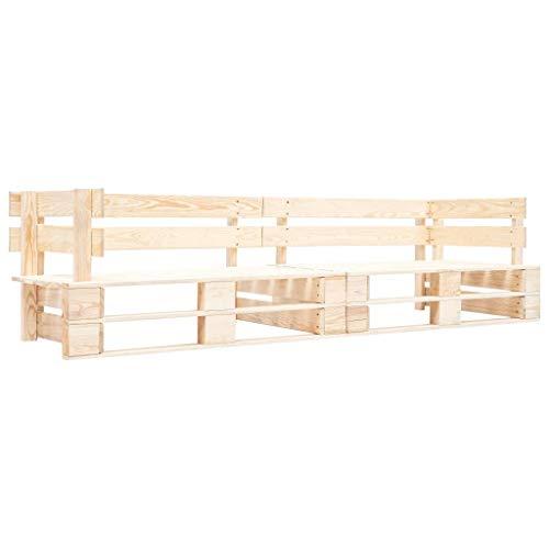 Festnight 2-Sitzer Garten-Palettensofa Sitzkissen Gartenstuhl Palettenkissen Palettenhocker Palettenmöbel Sitzhocker Natur Holz