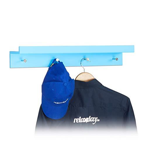 Relaxdays haaklijst garderobe, garderobe lijst met 4 haken & plank, wandlijst, MDF, HBT: 10x60x11,5cm, blauw