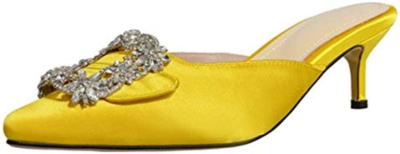 Kristall High Heels Gelb Plus Größe Größe Mode Schnalle Outdoor Frauen Hausschuhe Sommer Runde Kappe Frauen Schuhe  Marke kaufen