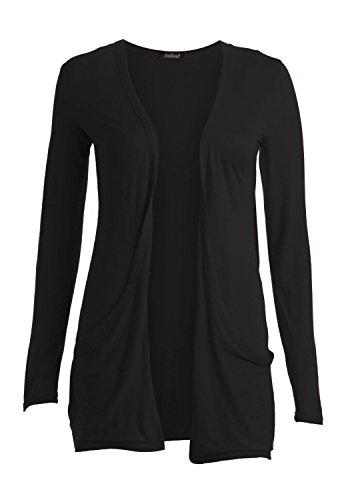 Clothes Ladies Women Boyfriend Open Cardigan with Pockets (S-M, Black)