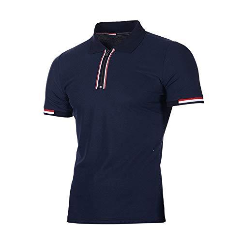 POLP Hombres Tipped Camisa Polo Manga Corta Casual Moda Algodón Camisas Cuello en Contraste Golf Tennis Polo Estampado Cuadros Ropa Deportivas Camisetas de Fitness Rojo Azul M/L/XL/2XL