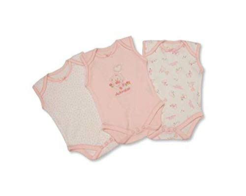 Nursery Time Baby Girls 3 Pack Sleeveless Env Neck Cotton Bodysuit Body Vest Sizes NB Pink 3 6 months